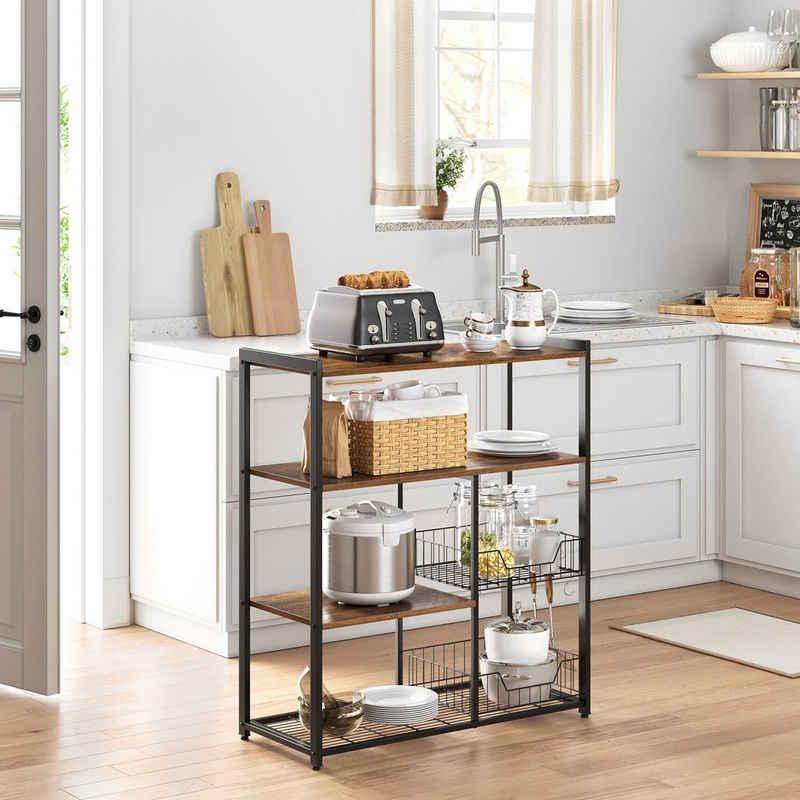 VASAGLE Standregal »KKS96X«, Metallregal aus Holz, Küche, mit Haken, 2 Metallkörben und Gitterfach, 80 x 35 x 95 cm, vintage