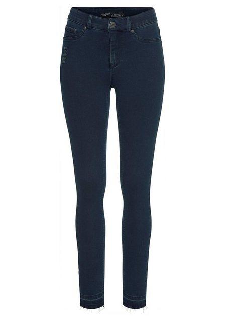 Hosen - Arizona Skinny fit Jeans »Ultra Stretch« High Waist mit offenem Saum › blau  - Onlineshop OTTO