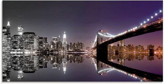 Artland Glasbild »New York Skyline nächtliche Reflektion«, Amerika (1 Stück)