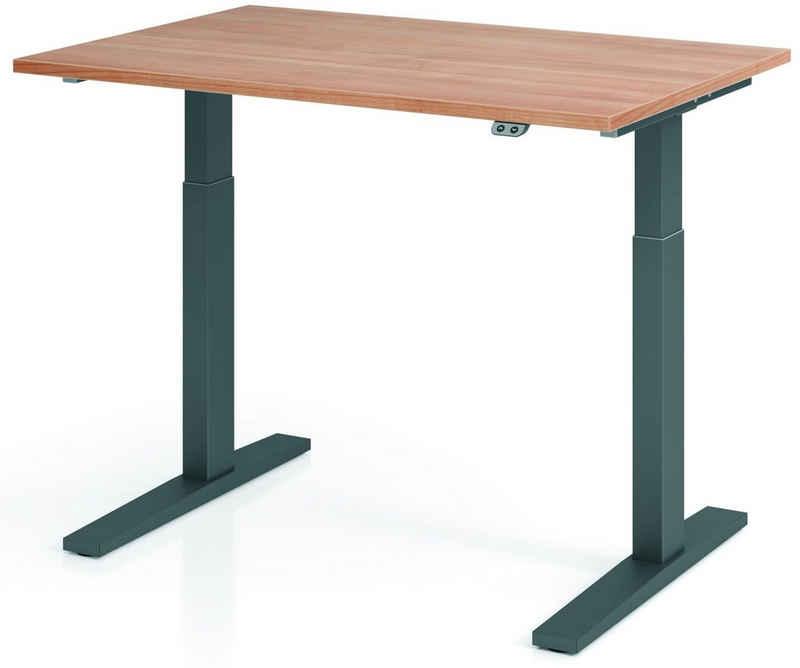 bümö Schreibtisch »OM-XMKA12«, elektrisch höhenverstellbar - Rechteck: 120x80 cm - Dekor: Nussbaum