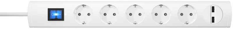 Kopp »UNOv.5f.m.Sch.weiß1,4USB« Steckdosenleiste 6-fach (Ein- / Ausschalter, Schalterbeleuchtung, USB-Anschluss, Kindersicherung, Schutzkontaktstecker, Kabellänge 1,4 m)