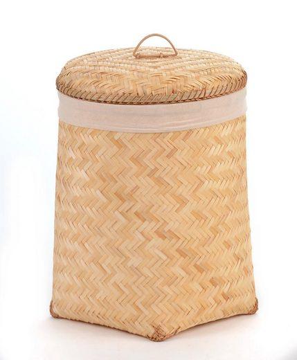 """animal-design Wäschebox, Wäschekorb ca. 45 Liter Wäschesammler Wäschebox Wäschetonne Wäschesortierer Bambus """"Wellness"""""""