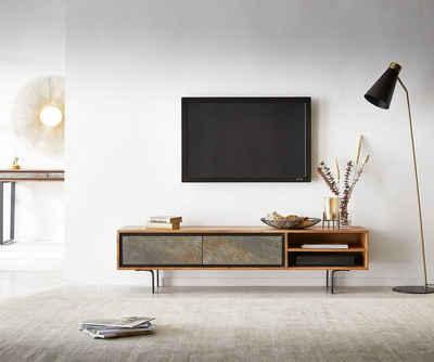DELIFE TV-Board »Juwelo«, 160x35x40 Akazie Natur Stein 2 Fächer