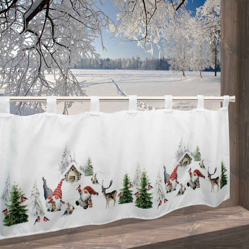 Scheibengardine »Winterstimmung«, Delindo Lifestyle, Schlaufen (1 Stück), mit Schlaufenaufhängung, für die Küche