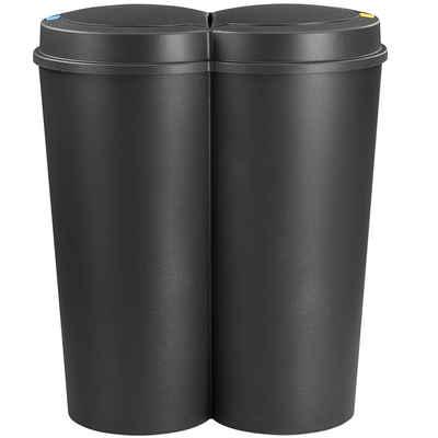 Deuba Mülleimer »Duo Bin«, 50 L 2fach Trennsystem 2x25 L Küche Abfalleimer Müllbehälter Mülltrennung Schwarz