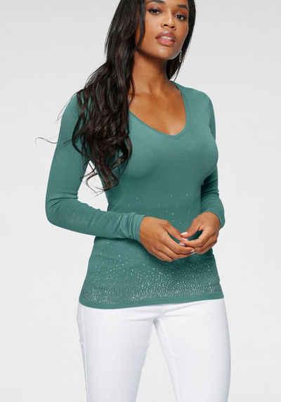 Melrose V-Ausschnitt-Pullover mit Strassdeko