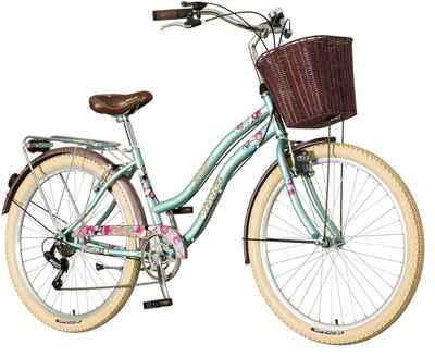 breluxx Cityrad »26 Zoll Damenfahrrad Venera Fashion Cruiser Bubilas mit Korb + Licht«, 6 Gang Shimano Tourney Schaltwerk, Kettenschaltung