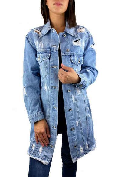 Worldclassca Jeansjacke »Worldclassca Damen Jeansjacke Oversized mit Rissen Jeans Denim Jacket Vintage lang Used Wash Übergangsjacke Denimwear Parka Destroyed Mantel Cut Out Neu S-L«