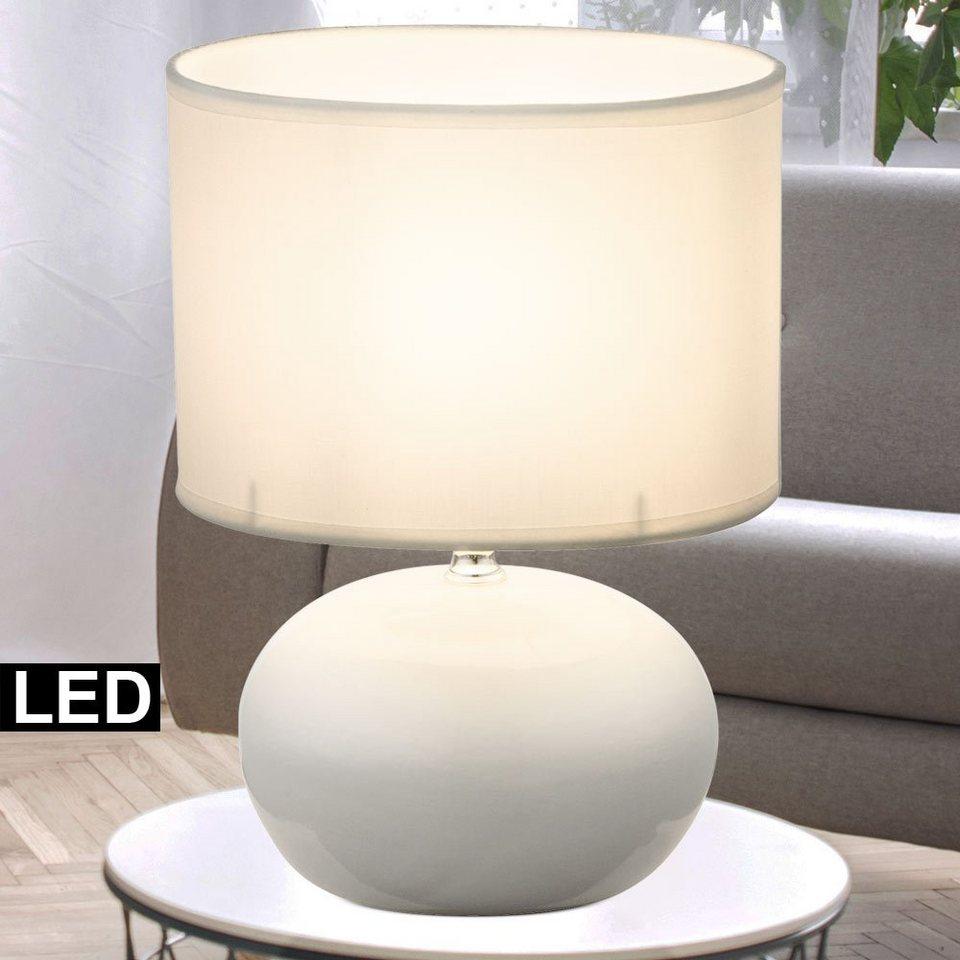 etc shop Tischleuchte, Design Tisch Leuchte Keramik Wohn Ess Zimmer Textil  Lese Lampe beige im Set inkl. LED Leuchtmittel online kaufen   OTTO