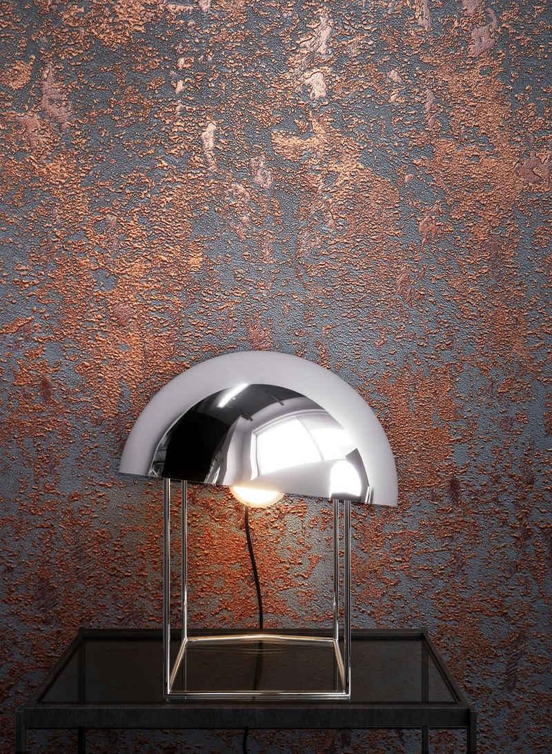 Newroom Vliestapete, Kupfer Tapete Uni Leicht Glänzend - Beton Anthrazit Rot Betontapete Betonoptik Putzoptik Modern Industrial für Wohnzimmer Schlafzimmer Küche