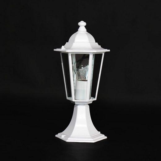 Licht-Erlebnisse Sockelleuchte »VELENCE Wegeleuchte Weiß Alu Glas Terrasse Hof Sockellampe Lampe«