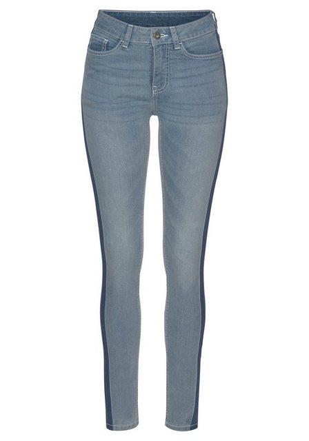 Hosen - Arizona Skinny fit Jeans »Seitennaht mit kontrastfarbenem Streifen« Mid Waist › blau  - Onlineshop OTTO