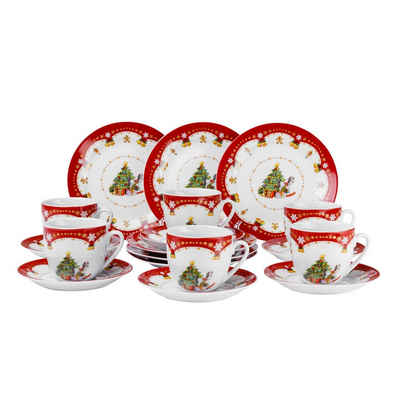 van Well Kaffeeservice »Kaffeeservice Weihnachtszauber 36tlg. für 12 Personen weiß mit Weihnachtsdekor«