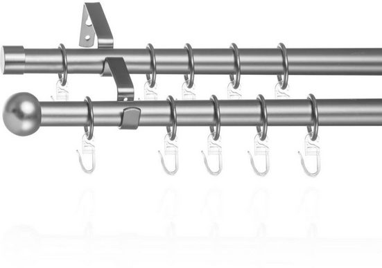 Gardinenstange »Gardinenstange Kugel, 20 mm, ausziehbar, 2 läufig 130 - 240 cm Chrom Matt«, LICHTBLICK ORIGINAL, Ø 20 mm, 2-läufig, ausziehbar, Zweiläufige Vorhangstange mit Ringen für Gardinen und Stores.