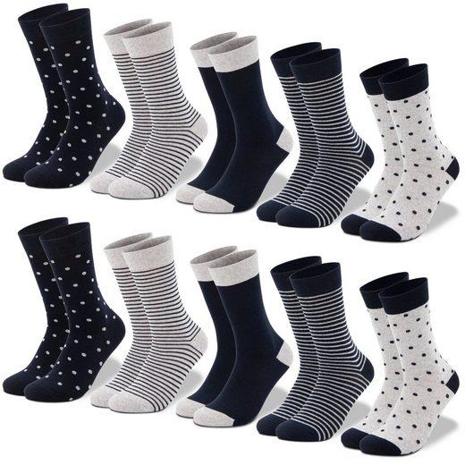 OCCULTO Socken »Damen Mustersocken Lang« (10-Paar) Socken für Damen in verschiedenen Mustern mit Punkten und Streifen