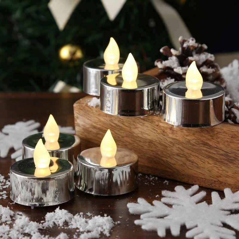 MARELIDA LED-Kerze »LED Teelicht flackernde Flamme flammenlos Batterie D: 3,8cm silber 6 Stück« (6-tlg)