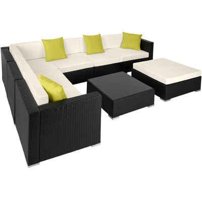 tectake Loungeset »Rattan Lounge mit Aluminiumgestell Marbella«, (8-tlg)