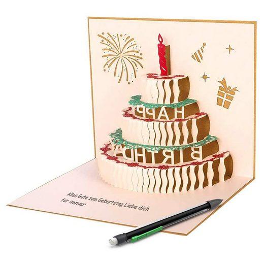 kueatily Geburtstagskarten »3D Pop Up Grußkarten Geburtstagskarte mit roter Kerze 3 Layer Cake Design Handgefertigte Geburtstagskarte mit Umschlag für Familie, Freunde, Kollegen, Kinder, Eltern, Liebhaber«