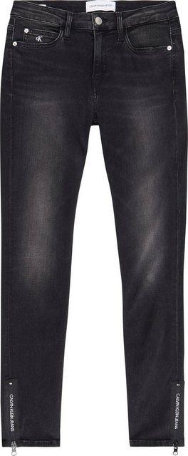 Hosen - Calvin Klein Jeans Skinny fit Jeans »CKJ 011 MID RISE SKINNY ANKLE« mit Calvin Klein Logo Details › schwarz  - Onlineshop OTTO
