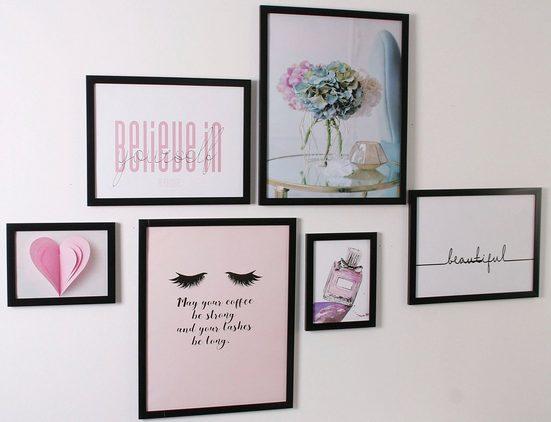 my home Bilderrahmen »Rahmenset«, (Set, 6 Stück), Fotorahmen, schwarz; Bildformat 18x24 cm, 30x40 cm und 40x50 cm