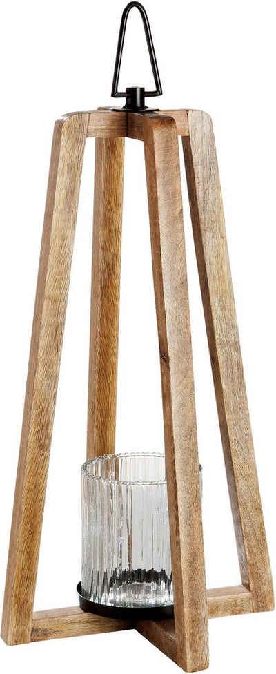 GILDE Laterne »Triangolo« (1 Stück), aus Holz mit Glas-Einsatz