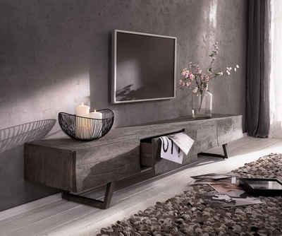DELIFE TV-Board »Wyatt«, Akazie Platin 220 cm 4 Schubladen Design Lowboard