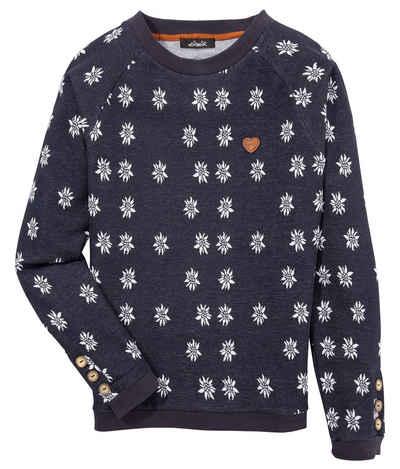 Hangowear Sweatshirt Damen lässiger Sweater mit All-over Edelweiß Print