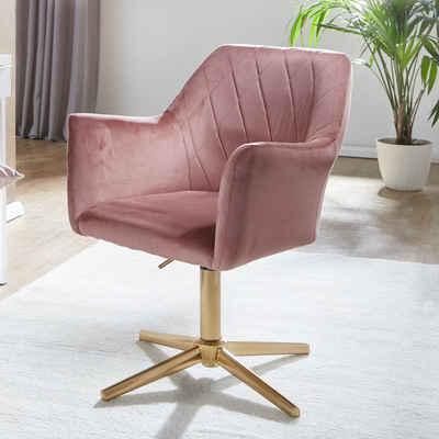 Wohnling Drehstuhl »WL6.306«, Design Rosa Samt drehbar ohne Rollen, Küchenstuhl mit Armlehne, Bequemer Schalenstuhl Esszimmer, Esstischstuhl mit Lehne