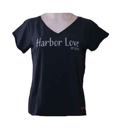 Derbe T-Shirt »derbe Harbor Love T-Shirt lässiges Damen Kurzarm-Shirt mit Statement-Print Freizeit-T-shirt Navy«