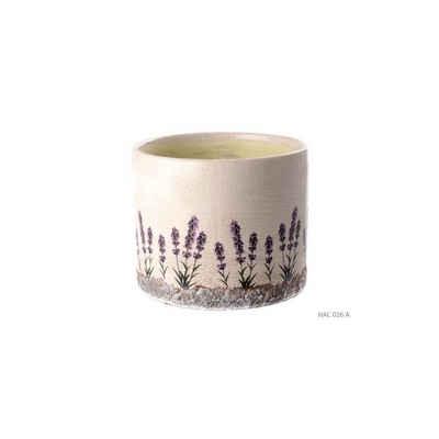Cosy Home Ideas Übertopf »Übertopf rund Keramik beige Lavendel Provence 15 cm« (1 Stück, 1x Übertopf aus Keramik), Antik Look der Glasur