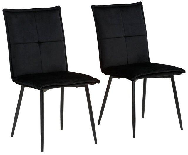 Stühle und Bänke - my home Esszimmerstuhl »Meila« 2er Set, mit einem schönen pflegeleichtem Samtvelours Bezug und schwarzen Metallbeinen  - Onlineshop OTTO