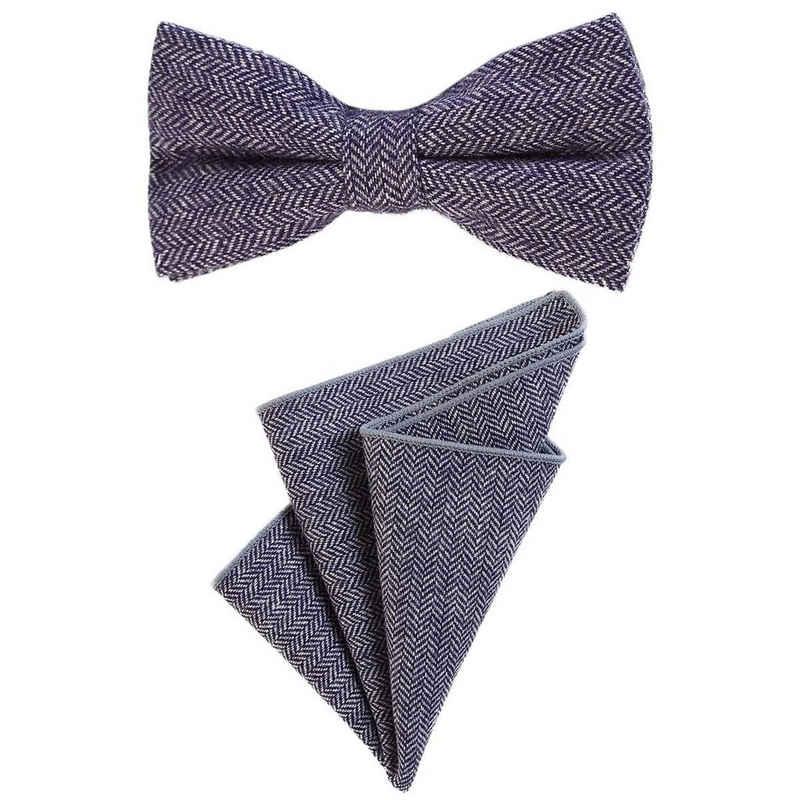 DonDon Fliege »Fliege aus Baumwolle Karos Fischgrät« (2er Set, 2-St., Einstecktuch mit farblich passender Fliege) bereits gebunden, kariert, Tweed-Look, 2er Set