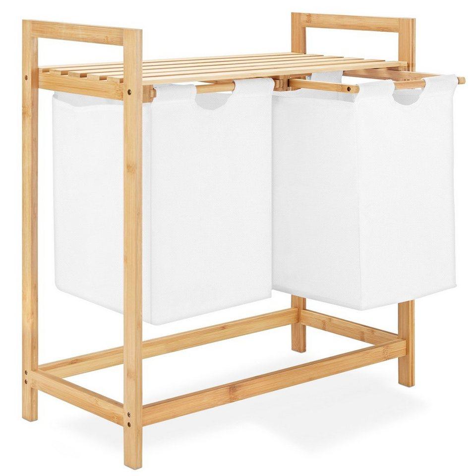 Navaris Ausziehwäschekorb, Wäschesortierer zweiteilig aus Bambus    Wäschesammler Baumwollsack inkl. Ablage   Doppel Wäschekorb   Trennen und  Sortieren ...