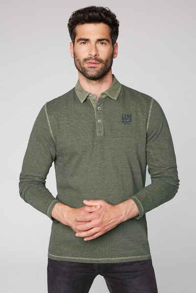 CAMP DAVID Langarm-Poloshirt mit Overlocknähten