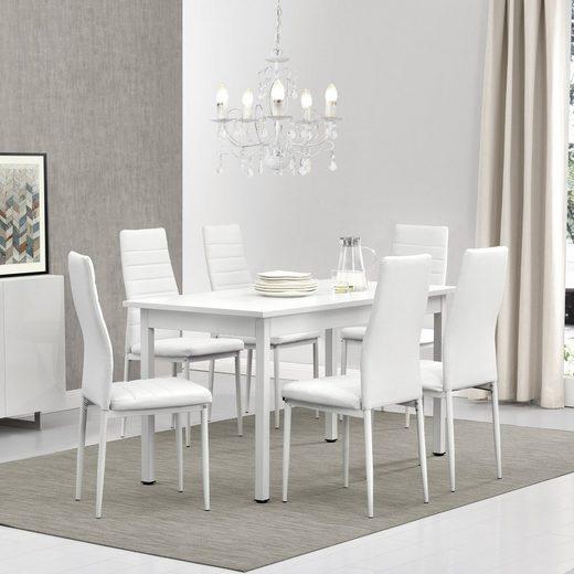 en.casa Essgruppe, (Set, 7-tlg., Esstisch mit 6 Stühlen), »Stavanger« 140x60cm Küchentisch Kunstleder Stühle weiß