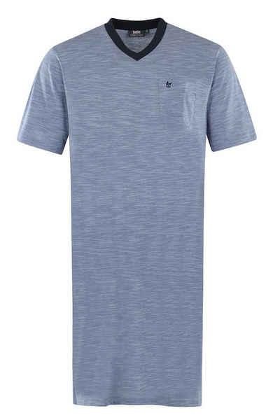 Hajo Nachthemd »Klima Komfort« für Herren, Kurzarm, in Melange Optik, bügelfrei und mit Logo-Stickerei