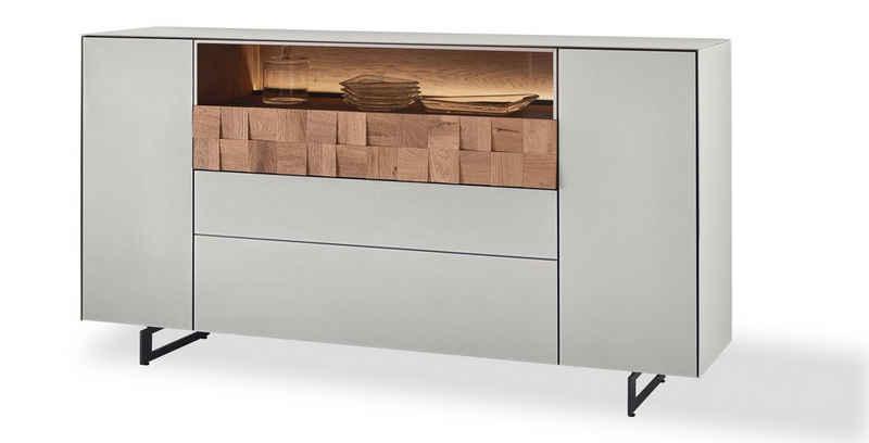 LEONARDO Sideboard »LIV«, Massivholzkacheln enthalten, Breite 192 cm, wahlweise mit Mattglas in blau oder grau