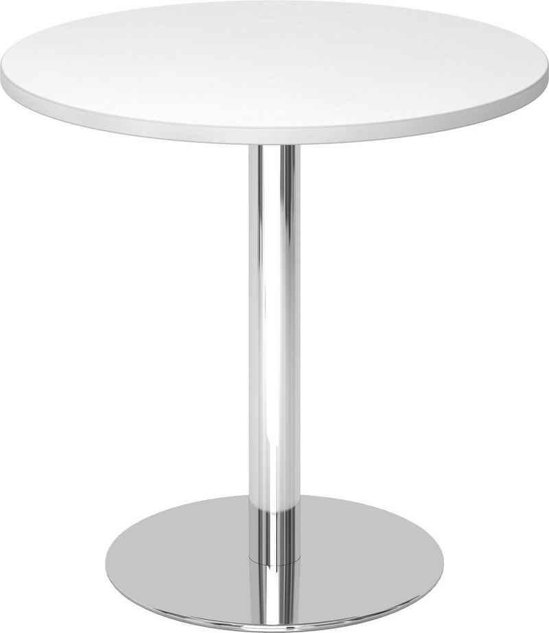 bümö Säulen-Esstisch »OM-STF08-C«, Pausentisch & Besprechungstisch - Platte: rund - Gestell: verchromt, Dekor: Weiß