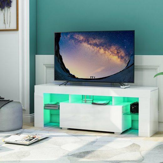 Gotui Unterschrank Gotui TV-Board «, Weiß TV Schrank Unterschrank Fernsehtisch TV Board Wohnzimmer, Fernsehschrank, Weiß