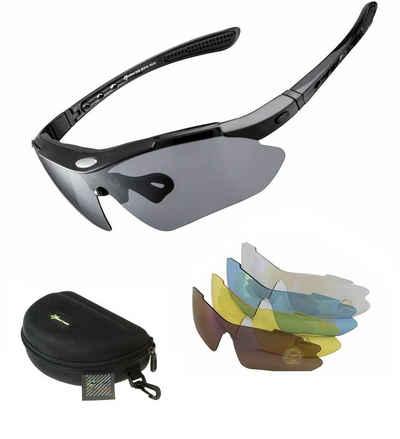 ROCKBROS Fahrradbrille »Fahrradbrille Polarisiert Sportbrille SCHWARZ Sonnenbrille Brille UV400 + ETUI + 4 Ersatzgläser«