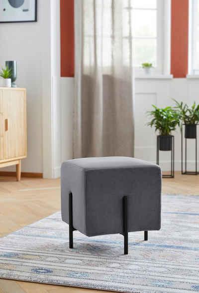 COUCH♥ Pouf »Knautschis«, In verschiedenen Farbvarianten erhältlich, zwischen zwei Beinfarben auswählbar, mit einem pflegeleichten Samtvelours Bezug, Sitzhöhe 42 cm