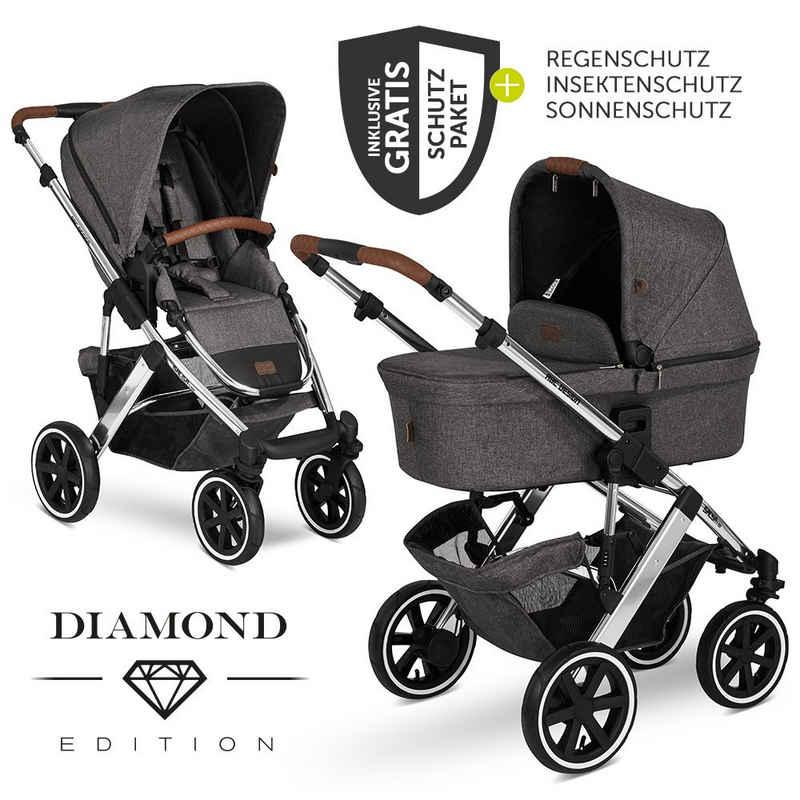 ABC Design Kombi-Kinderwagen »Salsa 4 Air Diamond Edition - Asphalt«, (7-tlg), inkl. Babywanne, Sportsitz & XXL Zubehörpaket