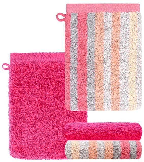 Lashuma Handtuch Set »Pure« (Set| 4-tlg)| Waschlappen 4 teilig Gestreift und Uni| Saugstarke Frotteetücher 15x21 cm | Bad | Lashuma