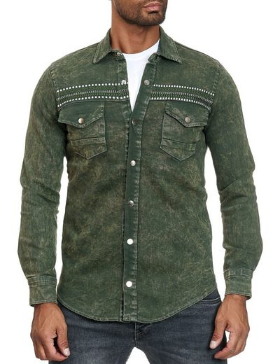 Schlussverkauf Egomaxx Hemd »2881« Besticktes Herren Hemd in Jeans Optik