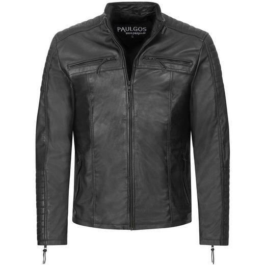 PAULGOS Lederjacke »PAULGOS Herren Lederjacke Echtes Leder Jacke Echtleder Übergangsjacke Fashion in 5 Farben Gr. S-7XL Design 1«