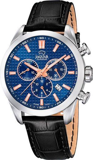 Jaguar Chronograph »UJ866/2 Jaguar Herren Armbanduhr ACM«, (Chronograph), Herrenuhr rund, groß (ca. 43mm), Edelstahl, Lederarmband, Sport-Style