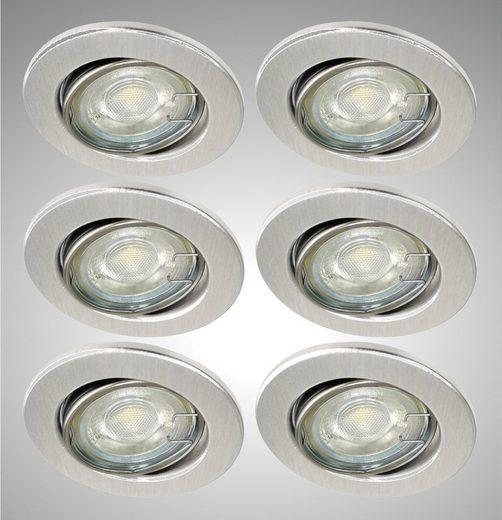 TRANGO LED Einbauleuchte, 6er Set LED Einbaustrahler 6729-069MO6KSD in Alu-gebürstet Rund incl. 3-Stufen dimmbar Ultra Flach LED Modul, 6000K Tageslicht (kalt-weiss) Einbauleuchte, Deckenspot, Einbauspot, Deckenleuchte