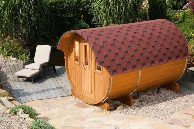 Saunen und Zubehör - WOLFF FINNHAUS Fasssauna »330«, 205 335 210 cm, rote Schindeln, ohne Ofen  - Onlineshop OTTO