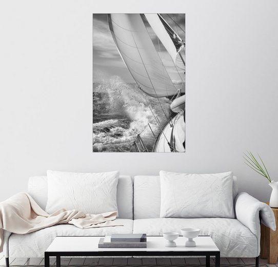 Posterlounge Wandbild, Segeln Schwarz/Weiß