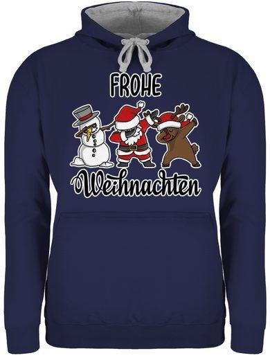 Shirtracer Hoodie »Frohe Weihnachten mit Dabbing Figuren - weiß - Weihnachten & Silvester - Unisex Damen & Herren Kontrast Hoodie«